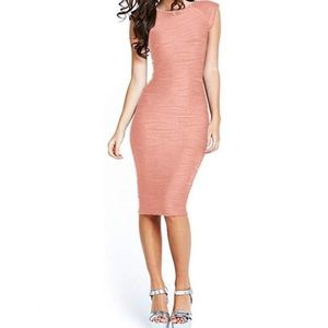 Pink Sleeveless Midi Bodycon Dress